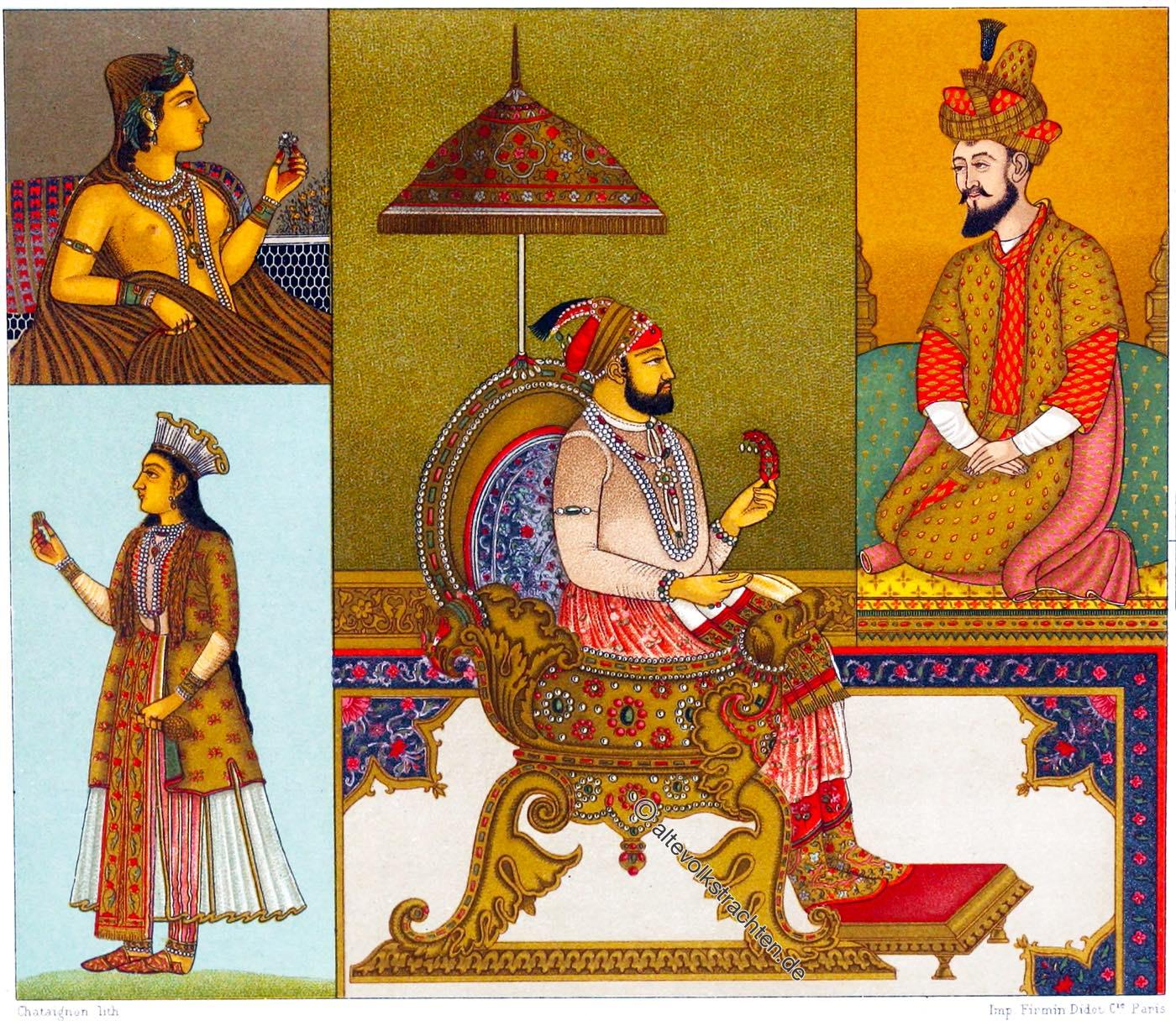 Auguste Racinet, Indien, Mogulreich, Hoftracht, Mogul, Kaiser, Kleidung,