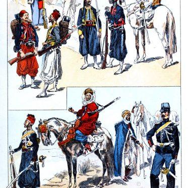 Uniformen von Soldaten der französischen Kolonial Armee 1892.
