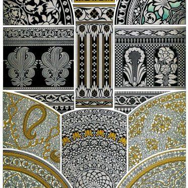 Niellos und gravierte Metalle. Ornamentale Verzierungen.