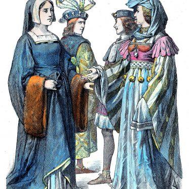 Französische Mode des Mittelalters von 1460-1480.