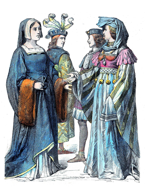 Gewandung, Mittelalter, Frankreich, Schaube, Cotte,