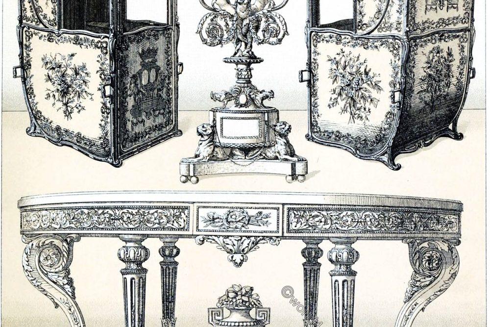 Auguste Racinet, Mobiliar, Stil, Rokoko, Frankreich, Sänfte, Design,