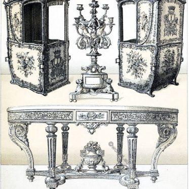 Mobiliar aus der Epoche Ludwigs XVI. Die Sänfte. Frankreich 18. Jh.