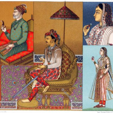 Indien. Herrscher aus der Mogul Dynasty. Kleidung der Frauen.