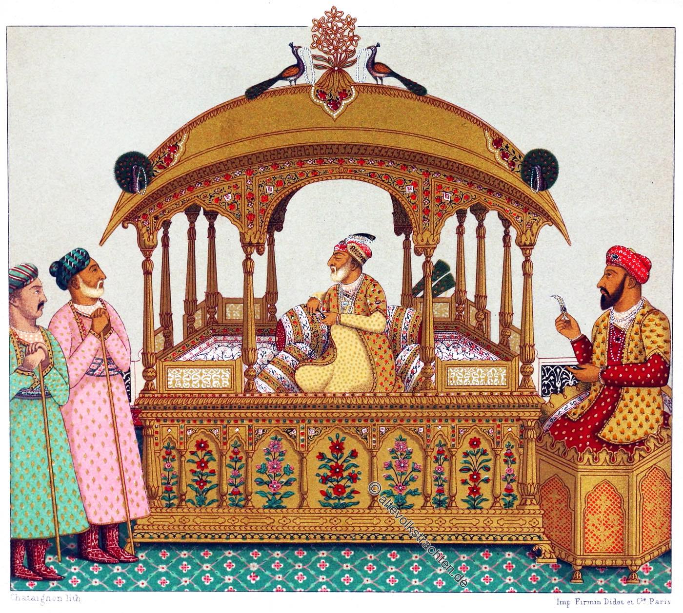 Pfauenthron, Palankin, Indien, Mogul, Kaiser, Auguste Racinet,