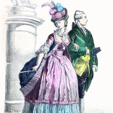 Kostüme in der zweiten Hälfte des 18. Jahrhunderts. Mode des Rokoko.