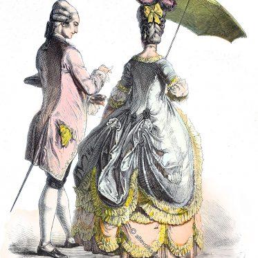Mode des Rokoko um 1780. Vertugado, Contouche.
