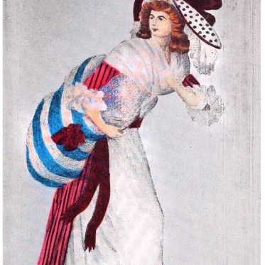 Gestreiftes Satinkleid à l'anglaise. Frankreich 1788.