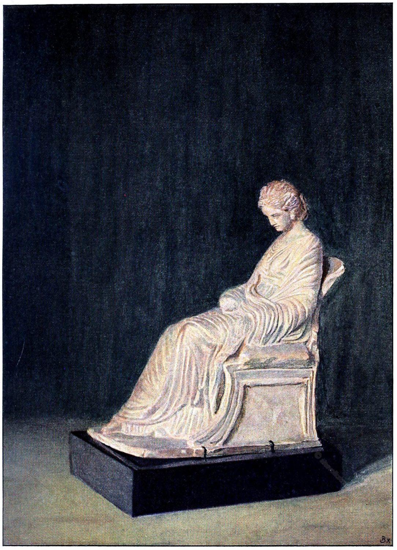 Tanagra, Terrakotta, skulptur, Griechenland., Antike.