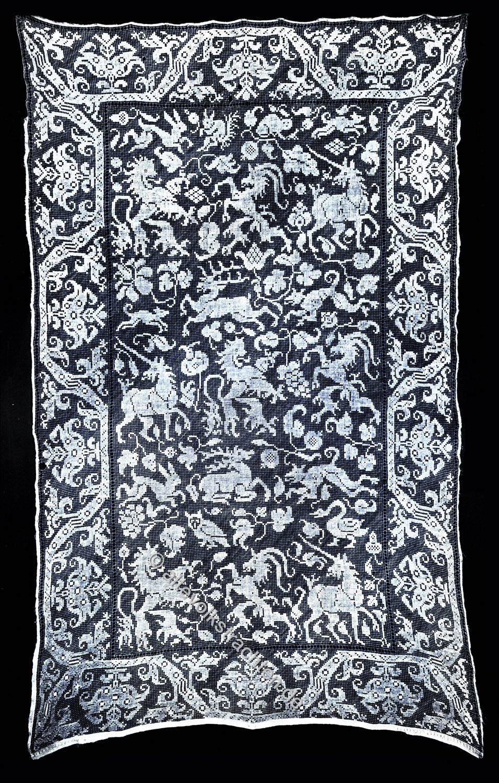 Vorhang, Filet-guipure, Guipure de Cluny, Guipure Richelieu , Netzstickerei, Barock