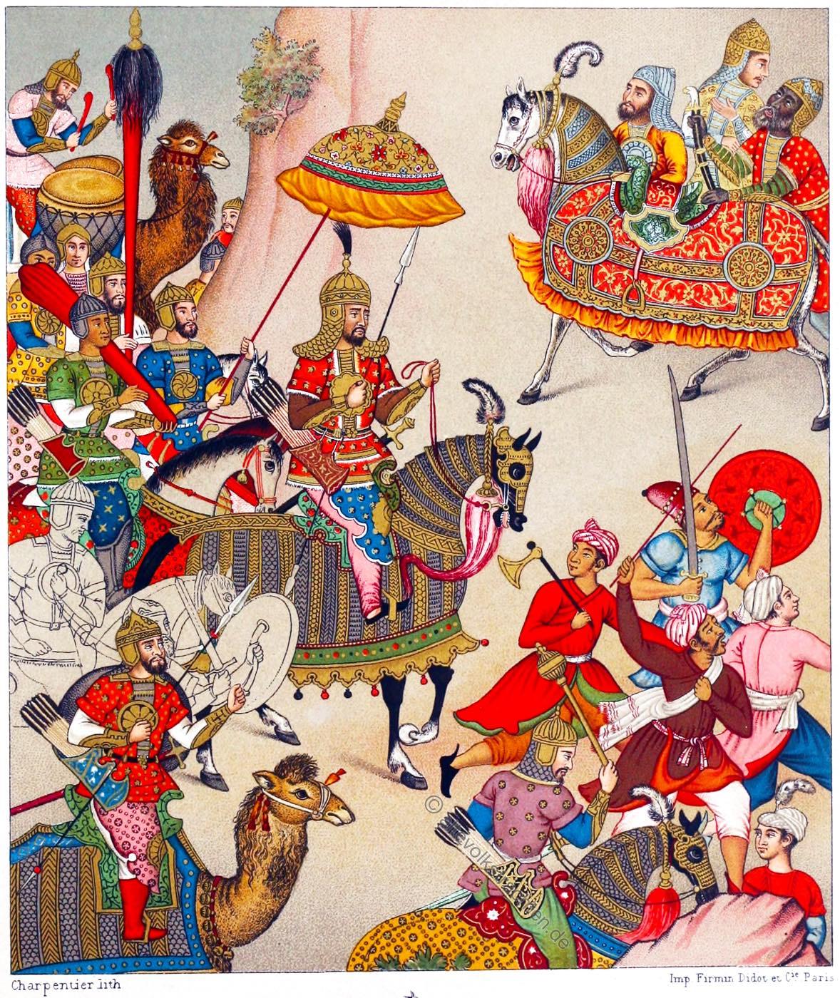 Großmogul, Babur, Indien, Kriegstrachten, Rüstungen, Miniatur, Malerei,