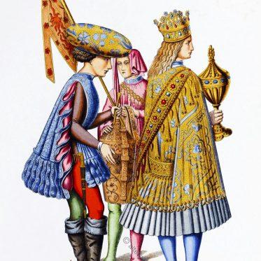 Italienische Fürsten mit ihrem Hofstaat aus der ersten Hälfte des 15. Jhs.