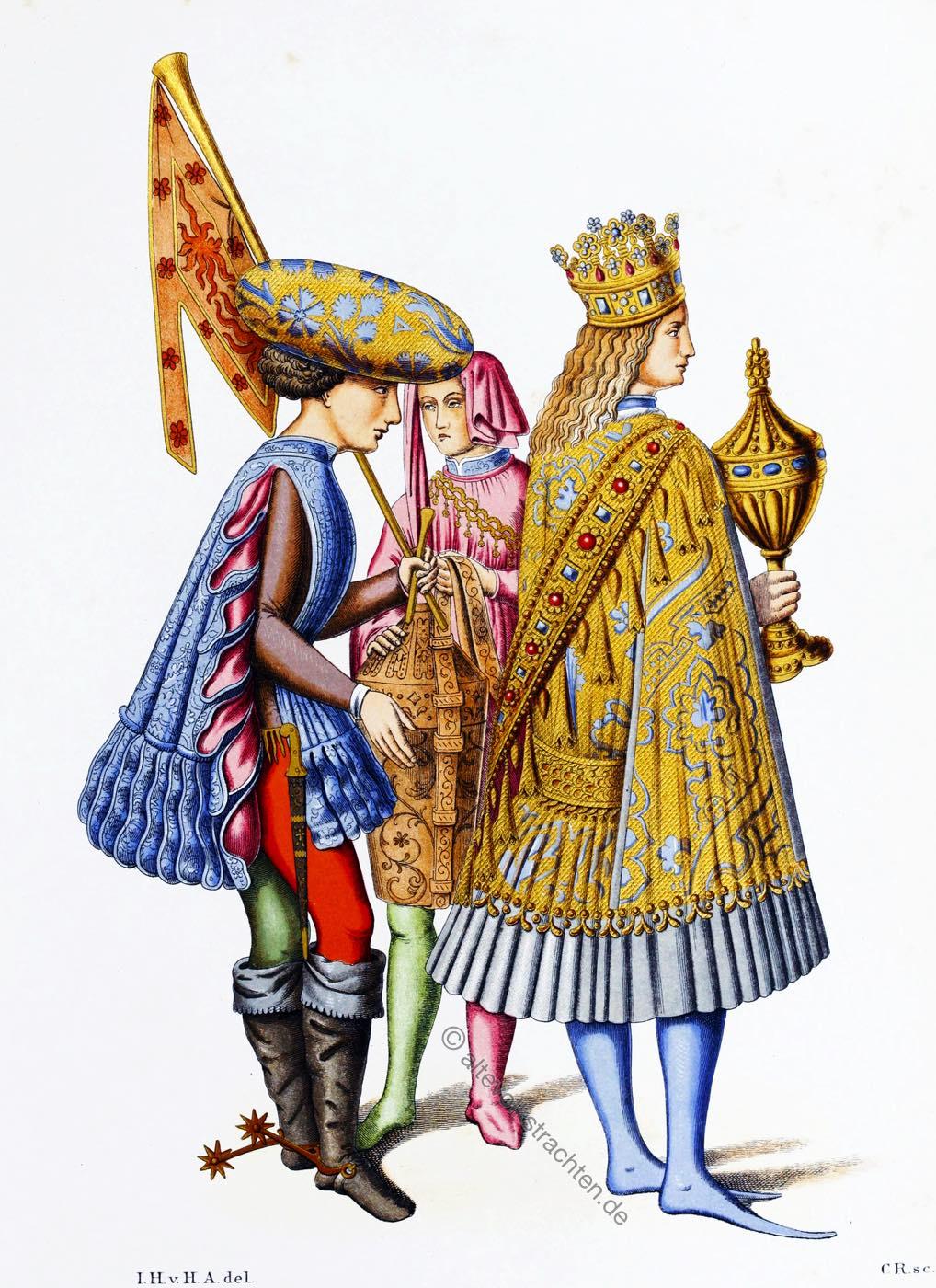 Italien, Hofstaat, Mode, Fürsten, Mittelalter, Renaissance, 15. Jahrhundert, Hefner-Alteneck,