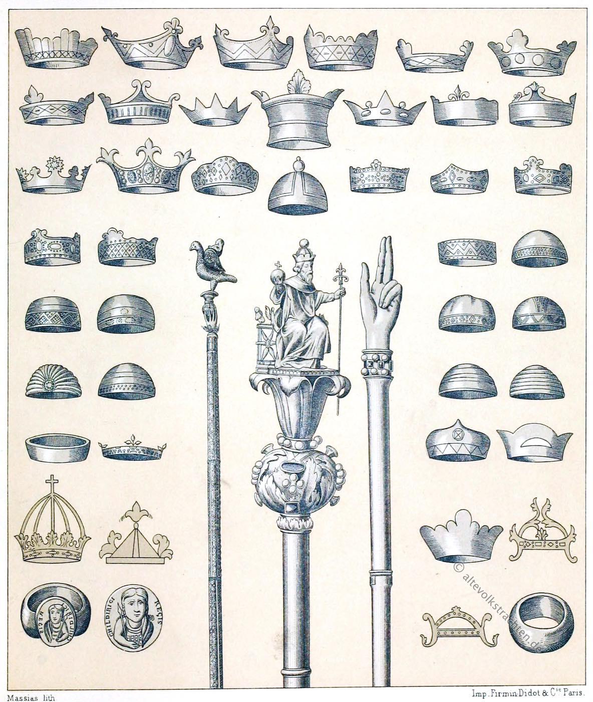 Mittelalter, Königskronen, Szepter, Kronen, merowinger, Karolinger, Franken, Könige