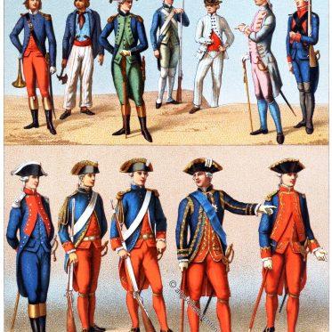 Uniformen der königlichen und republikanische Marine. Frankreich 18. Jh.