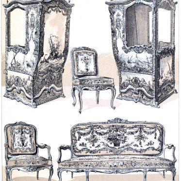 Louis Quinze Stil. Möbel. Die Sänfte. Frankreich. 18. Jahrhundert.