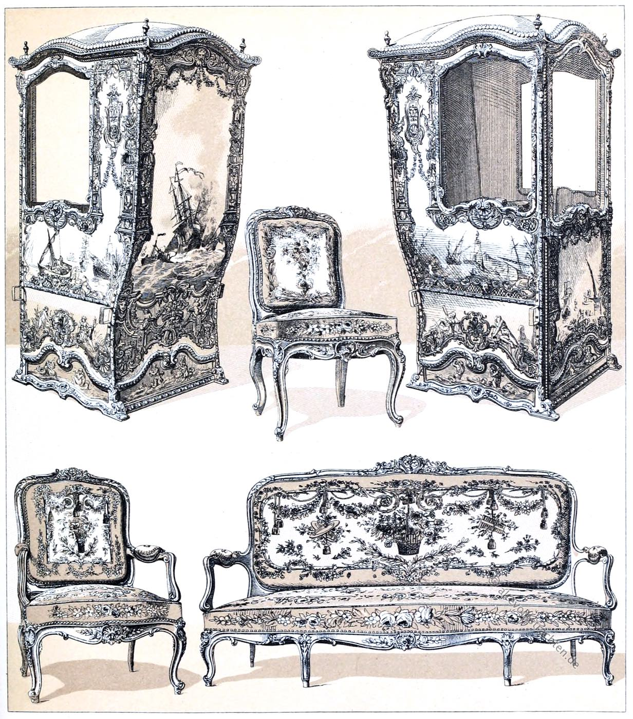 Sänfte, Rokoko, Louis Quinze, Prachtsessel, Möbel,