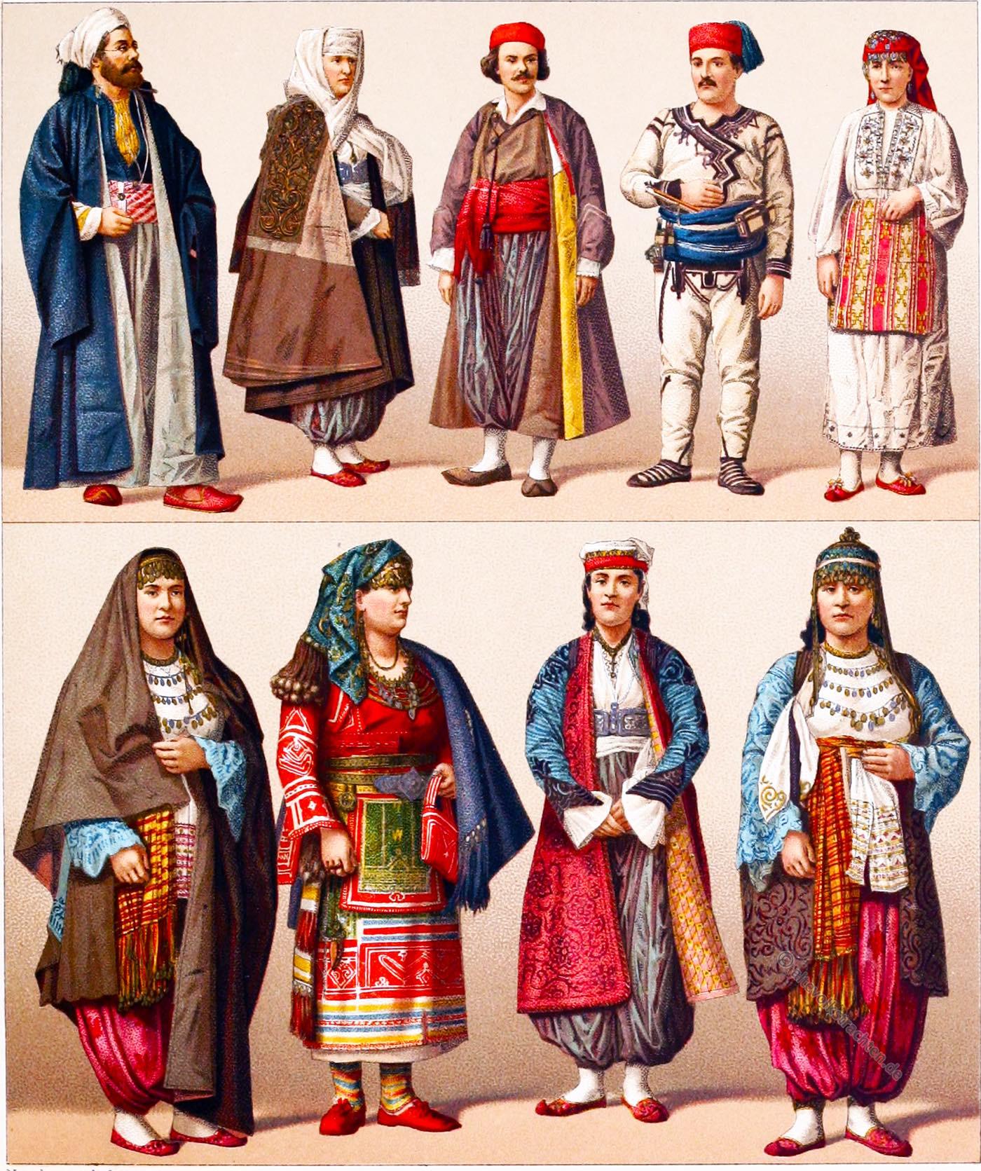 Slawische Trachten, osmanisches Reich, Kostüme, Balkan, Bulgarien, Albanien,