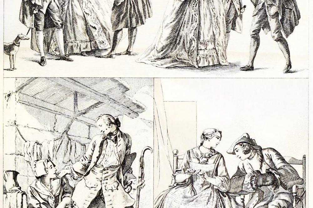 Spitzenklöpplerin, elegante Welt, Rokoko, Kleidung, Kostüme, Offizier, Auguste Racinet