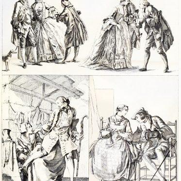 Die elegante Welt im 18. Jahrhundert. Frauen des Volkes.