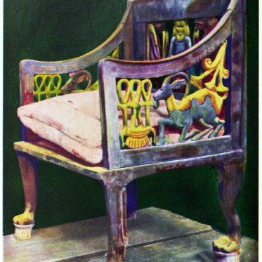 Mobiliar der Antike. Stuhl aus Ägypten. 14. Jh. v. Chr.