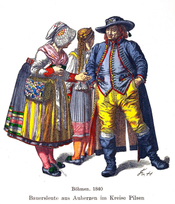 Trachten, Kostüme, Pilsen, Böhmen, Bauersleute, Bauerntrachten, Tschechien,