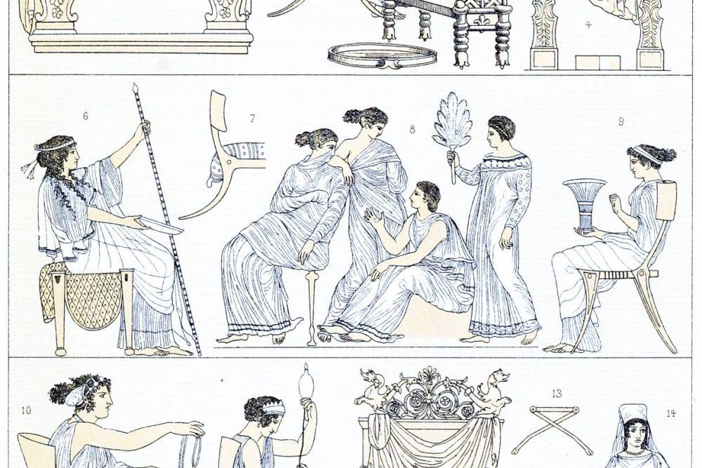 Griechenland, Rom, Möbel, Mobiliar, Sitzmöbel, Antike, Thronsessel, Bisellium, Klismos, Diphros, Sella castrensis