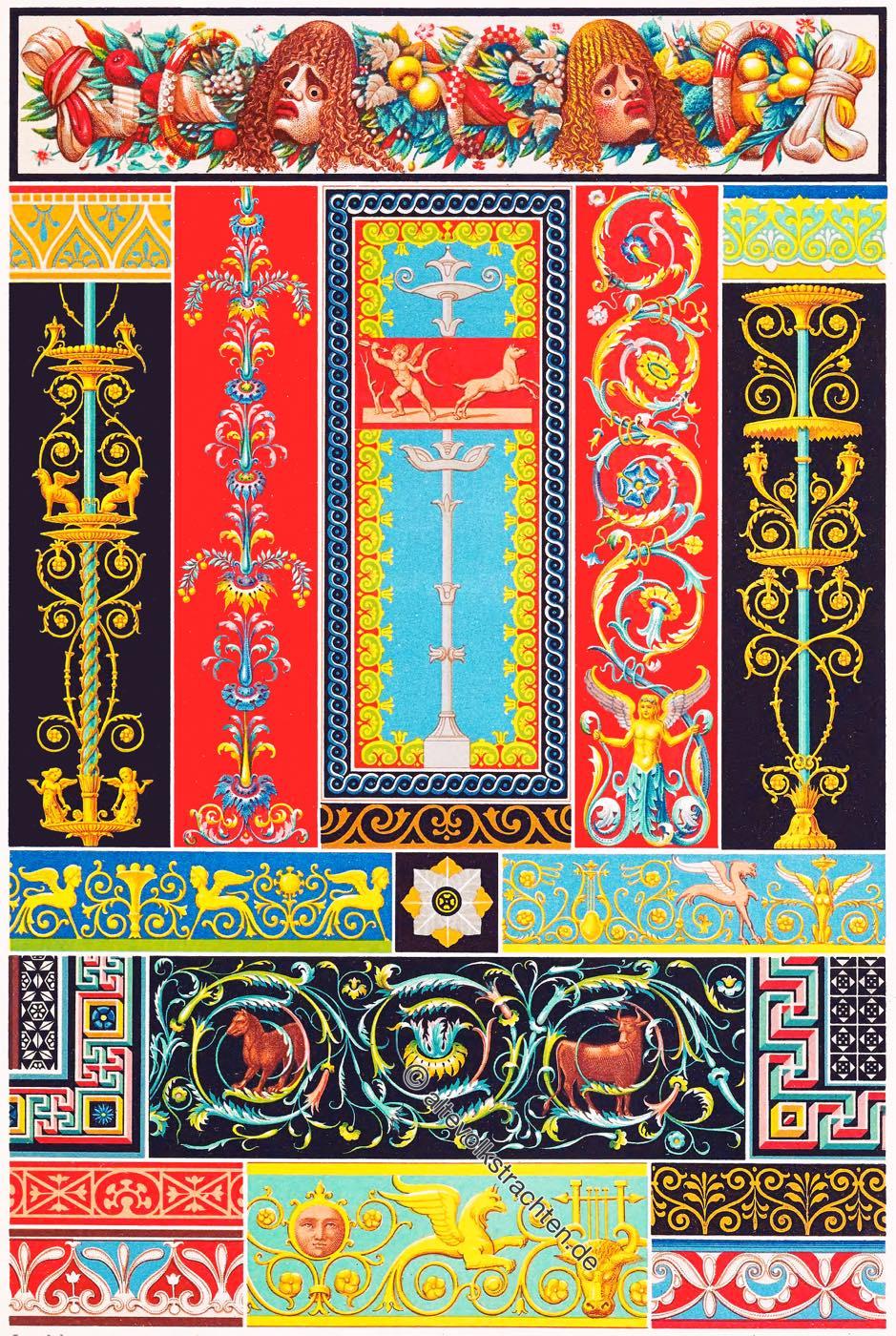 Pompeji, Herculaneum, Griechisch-Römische Kunst, Ornamente, Mosaiken, Flachreliefs