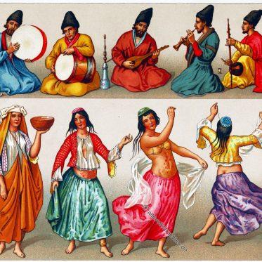 Persische Tänzerinnen, Musiker und deren Instrumente. Iran 18. Jh.