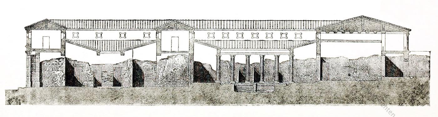 Pompeji, Durchschnitt, Plan, Hauses, Pansa, Architektur