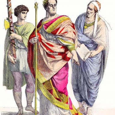 Römische Kostüme. Lictor. Römischer Kaiser. Vornehmer Römer.