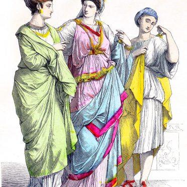 Römische Kostüme. Vornehme Römerinnen. Sklavin.