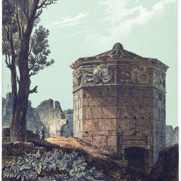 Der Turm der Winde in Athen. Meteorologische Station der Antike.