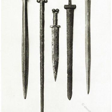 Antike Schwerter. Römische, keltische, gallische Waffen.