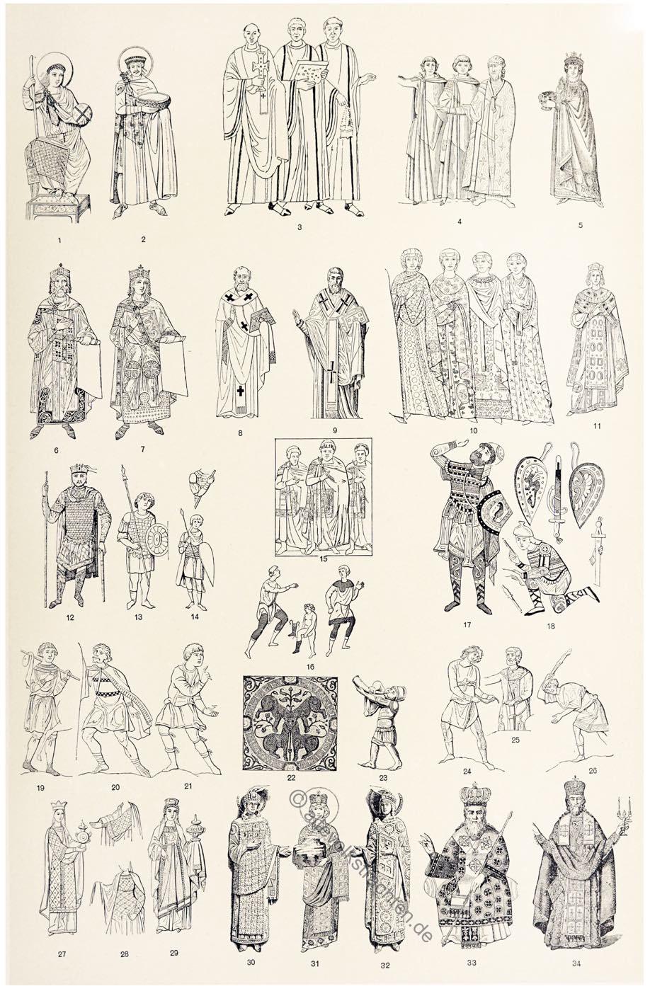 Byzanz, Kostümschnitte, Kleidung, Mode, Byzanz, Mittelalter