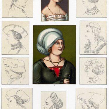 Hauben u. a. Kopfbedeckungen zu Anfang des 16. Jh. in Deutschland.