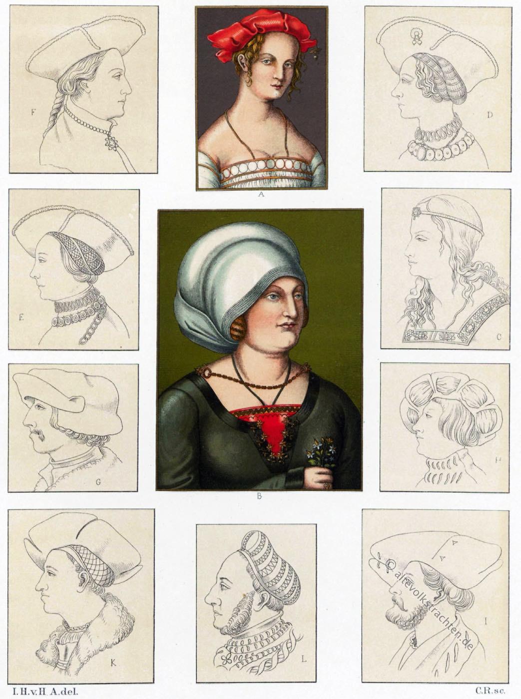 Hauben, Kopfbedeckungen, Renaissance, Hüte, 16. Jahrhundert, Trachten,