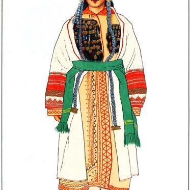 Mordwinische Braut aus dem Dorf Armanihe in Russland.