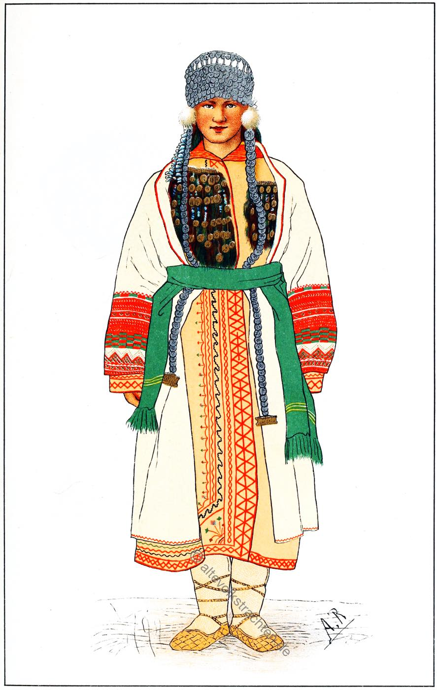 Tracht, Mordwinische, Braut, Russland, Mordva, Kostüm, Traditionelles Brautkleid,