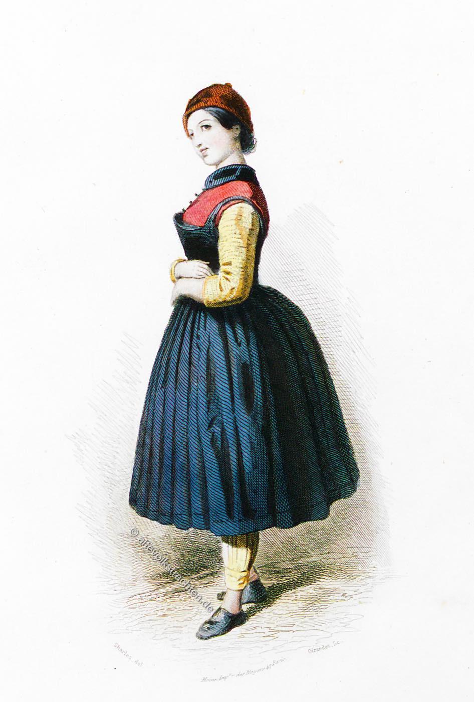 Tracht, Dirndl, Kleidung, Schäferin, Jennbach, Tirol, Österreich