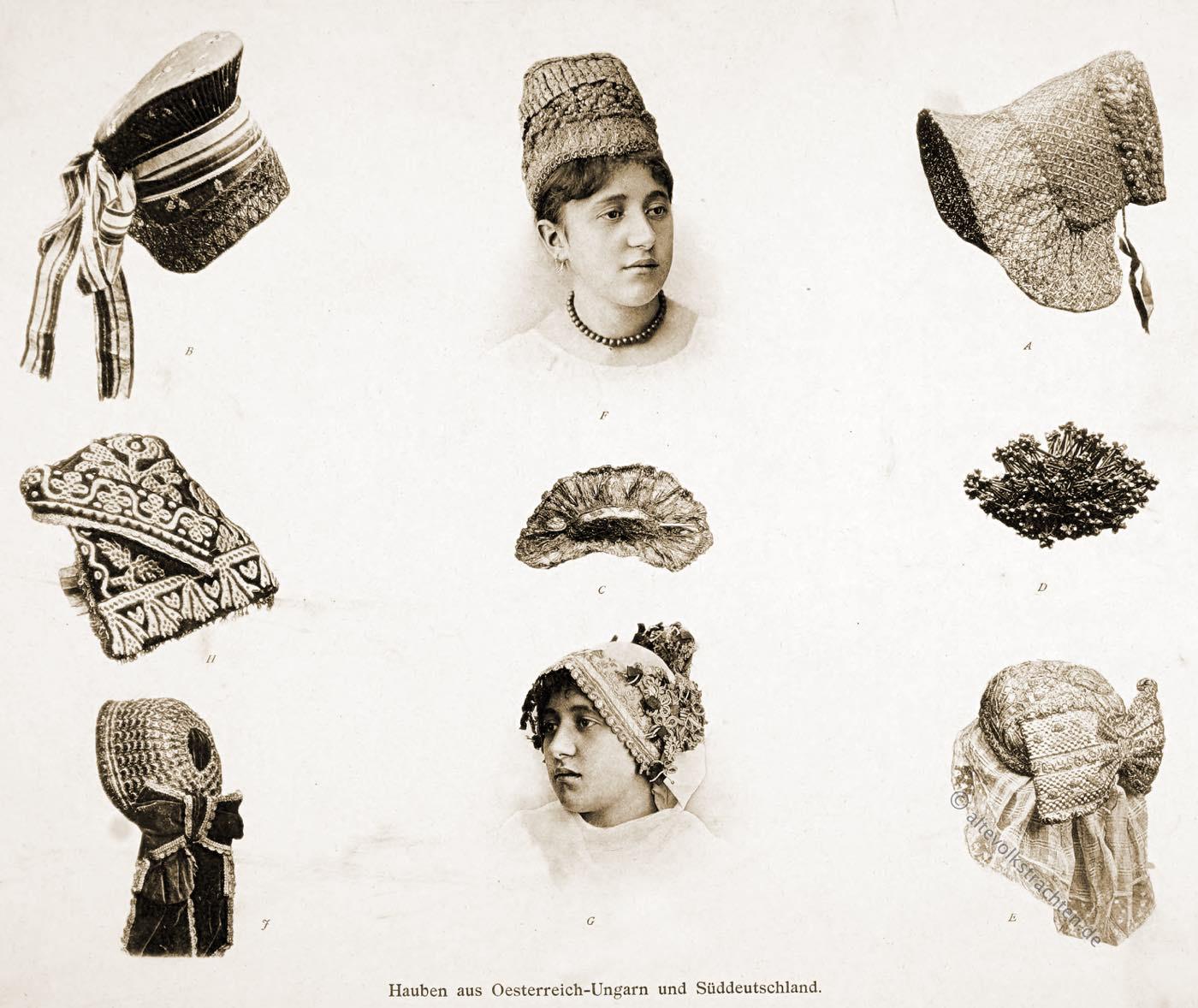 Trachtenhauben, Hauben, Österreich-Ungarn, Ungarn,