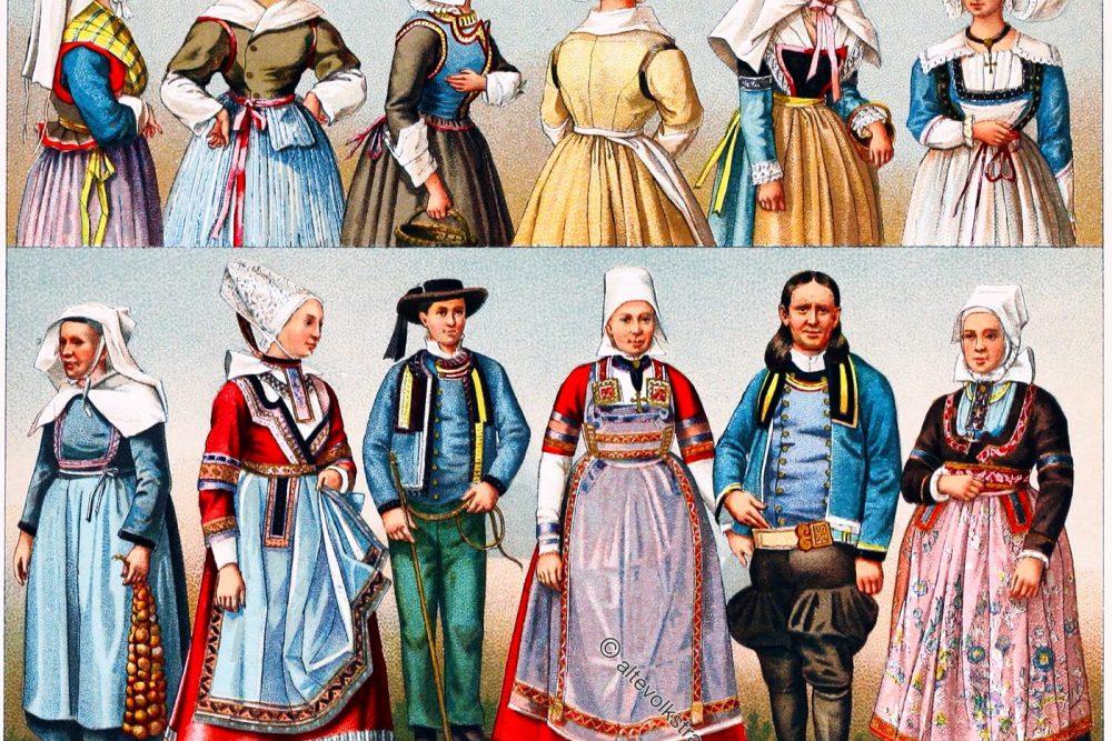 Volkstrachten, Bretagne, Département, Finistère, Frankreich, französische Bauerntrachten,