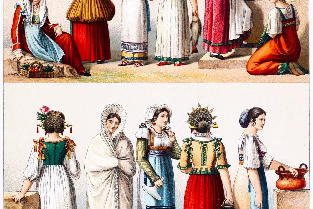 Italien, Volkstrachten, Trastevere, Fronsolone, Nocera dei Pagani, Mola di Bari, Fondi, Padua, Venedig, Mailand