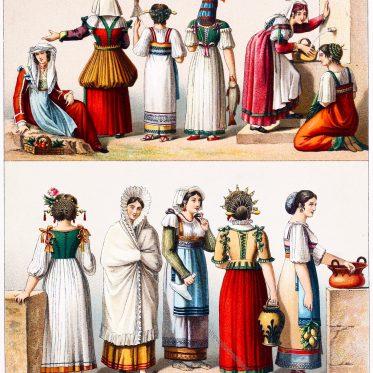 Italienische, weibliche Volkstrachten des 19. Jahrhunderts.