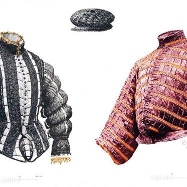 Wams und Barett des 16. Jh. Spanische Mode der Renaissance.