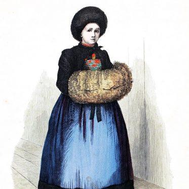 Frau in Wintertracht aus Montafon, Vorarlberg. Bezirk Bludenz.