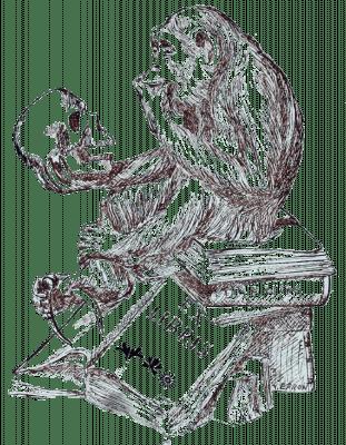 Ex Libris, Illustration, Affe, Totenschädel