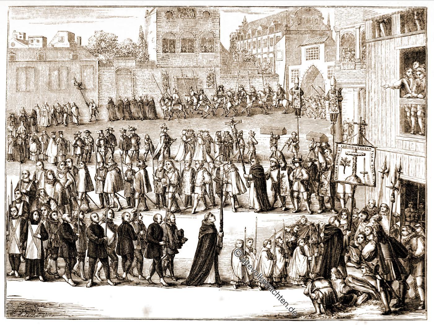 Prozession, auto-da-fé, Spanien