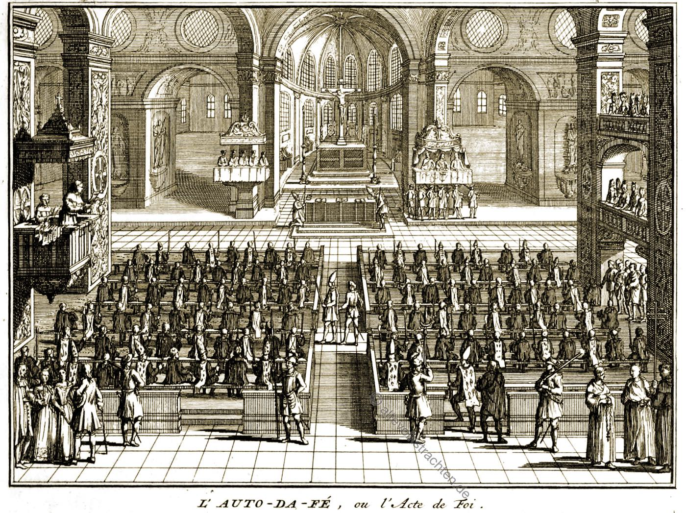 auto-da-fe, autodafe, Autodafé, Inquisition, Bernard Picart, Urteil,
