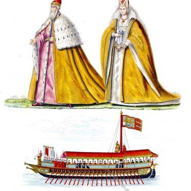 Doge und Dogaressa von Venedig. Gewänder. Bucintoro 16. Jh.
